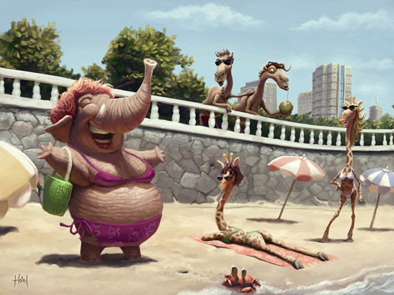 On the Beach Character Illustration, Tiago Hoisel