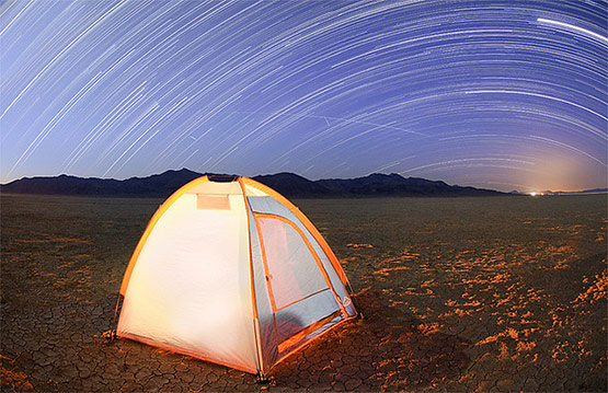 Meteors and Star Trails Over the Blackrock Desert