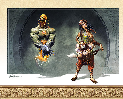 Djinn and Headhunter in Game Character Design and Illustration