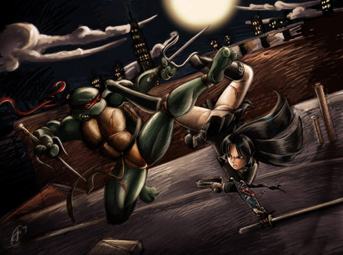 Rooftop Brawl in Teenage Mutant Ninja Turtles (TMNT) Artworks