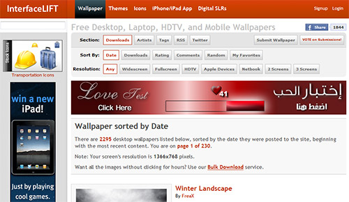 Interface Lift in Great Websites to Download Free Wallpapers for Desktop