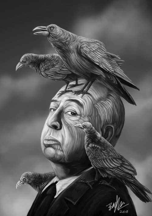 Alfred Hitchcock and Birds by ben9378