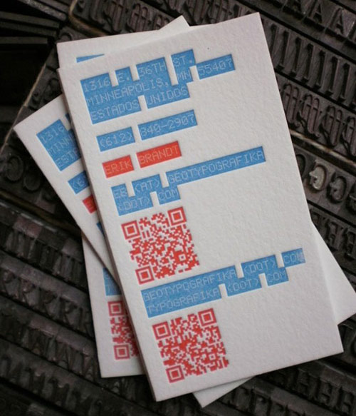 Erik Brandt Letterpress Business Card Design