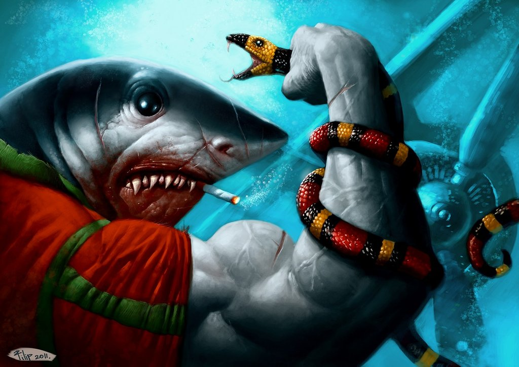 Sharks, Snakes and Planes - Gorgeous Digital Paintings