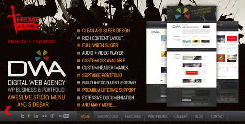 DWA - Premium Business/Portfolio WordPress Theme - New Portfolio WordPress Themes from ThemeForest