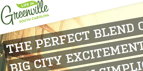 Life in Greenville - well design websites with big typography
