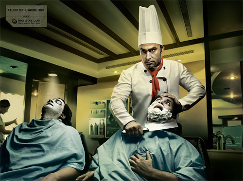 monster.com: Wrong job, Barber - controversial print ads