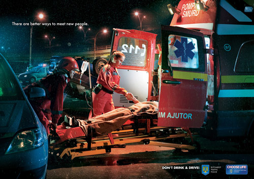 Bucharest Traffic Police: Meet New People, Stretcher - controversial print ads