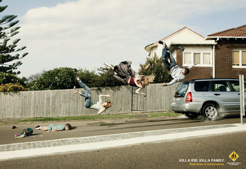Pedestrian Council of Australia: Family - controversial print ads