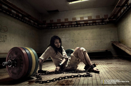 Amnesty International: Weight lifting - controversial print ads