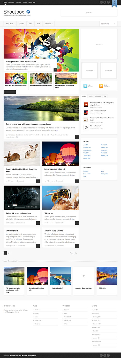 Shoutbox Magazine WordPress Theme - great magazine wordpress themes
