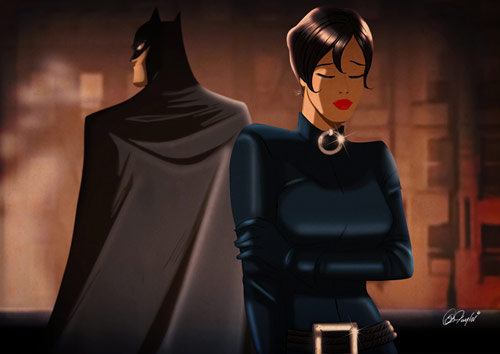 Batman and Selina - Retro Superhero Art