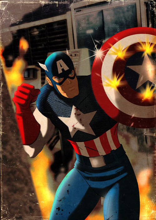 Captain America - Retro Superhero Art