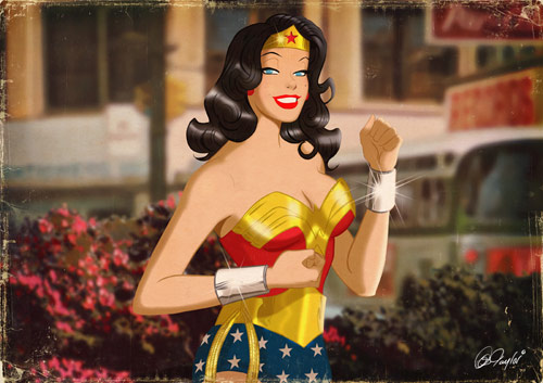 Golden Wonder Woman - Retro Superhero Art