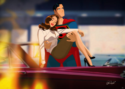 Superman Saves Lois - Retro Superhero Art