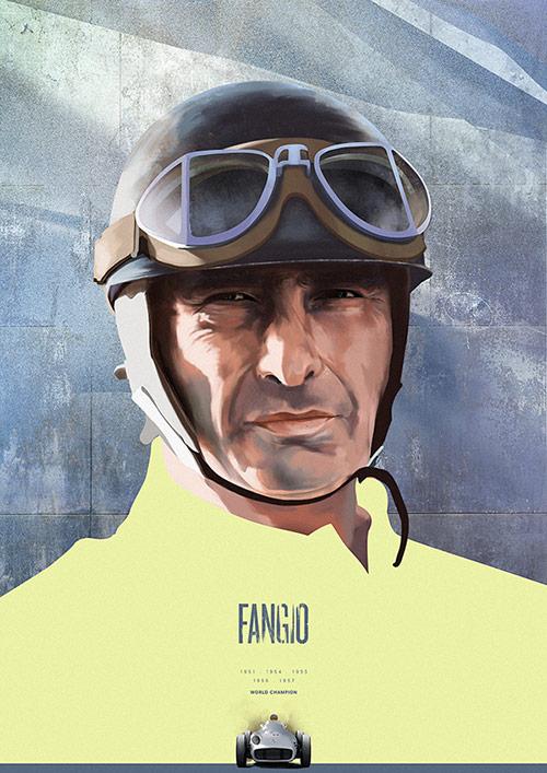 Juan Manuel Fangio - Formula 1 Heroes Portraits