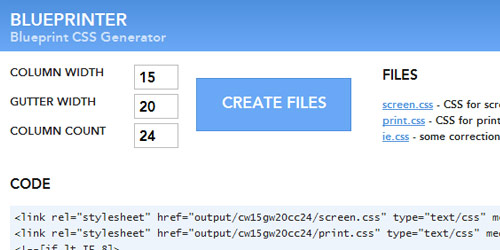 Css3 generators and tools free online tools for developers blueprinter blueprint css generator malvernweather Images