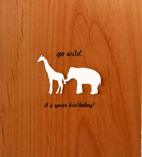 Wooden Card - Giraffe and Elephant