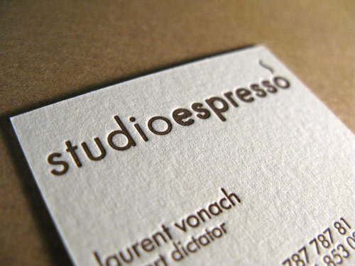 Letterpress Business Cards for Studio Espresso