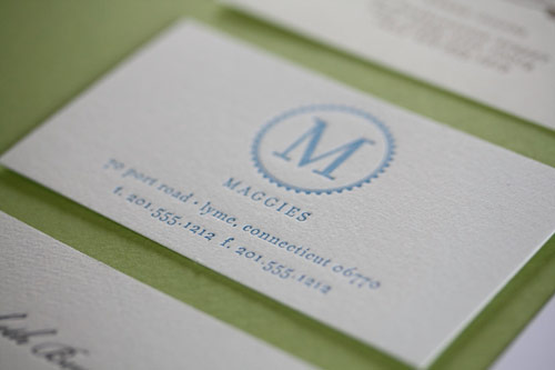 Maggies - Letterpress White Business Card