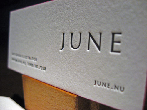 Letterpress Business Card - June Closeup