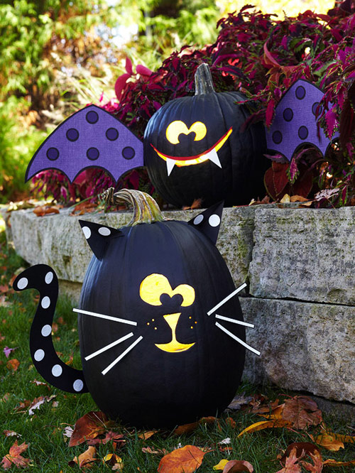 Black Cat and Bat Painted Pumpkins