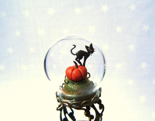 Halloween Ring Pumpkin & Black Cat