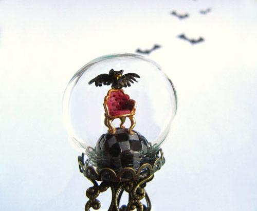 Halloween Ring - Owl and Armchair on Checker Floor