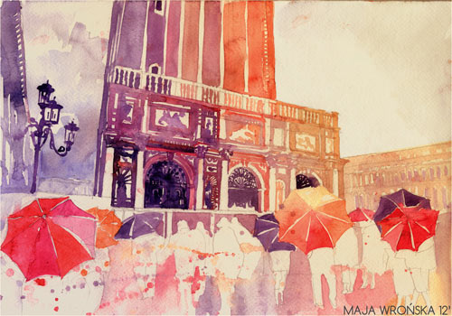 Summer Drizzle in Venezia - watercolor paintings