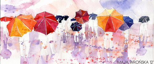 Umbrellas - watercolor paintings