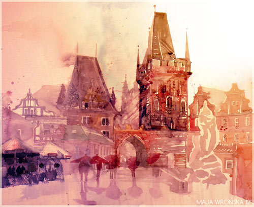 Rain in Prague - watercolor paintings
