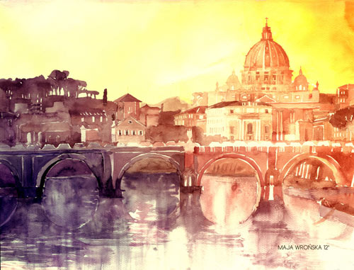 Sunset in Rome - watercolor paintings