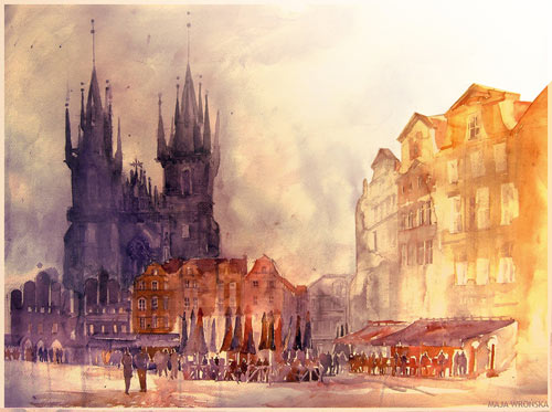 Praha - watercolor paintings