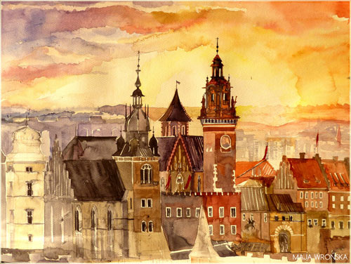 Krakow - watercolor paintings