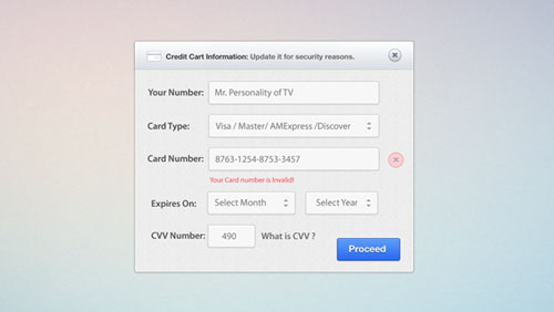 Credit Card Form PSD