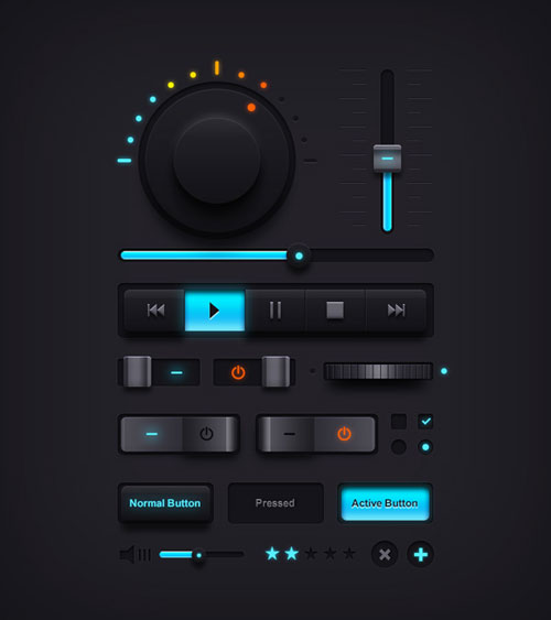 Dark Music UI Elements PSD