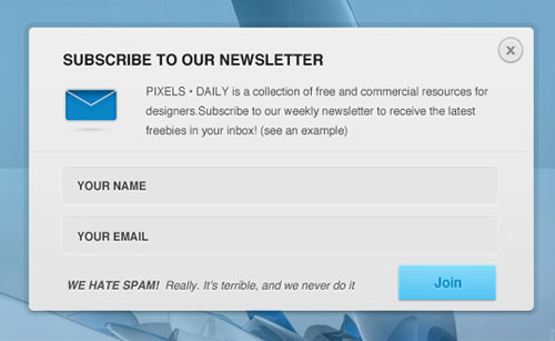 Newsletter Signup Form PSD