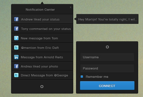 Notification Centre UI PSD