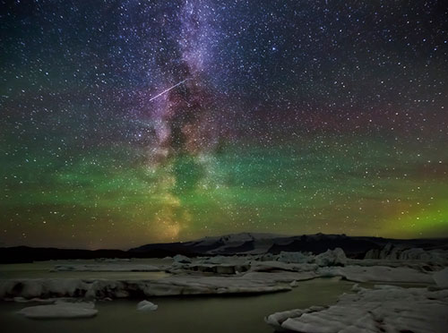 Milky Way , Aurora and a Meteor over Jokulsarlon Glacial Lagoon