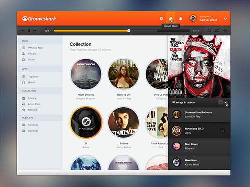 Grooveshark Design PSD