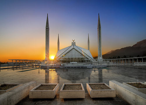 Sunset at Faisal Masjid