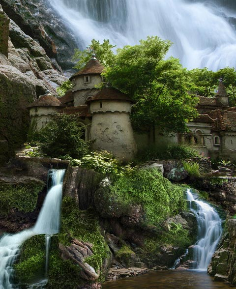 Waterfall Castle Poland