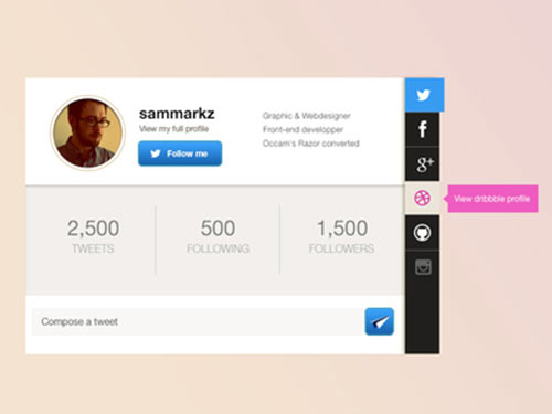 Profile Card Interface PSD