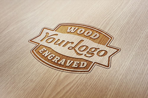 Wood Engraved Logo Mock-Up