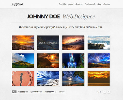 Zipfolio - Single Page Portfolio WordPress Theme