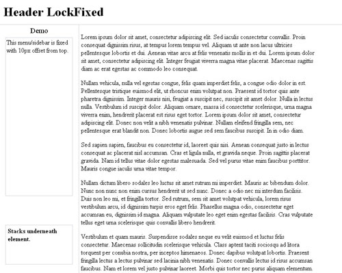 JQuery Lockfixed