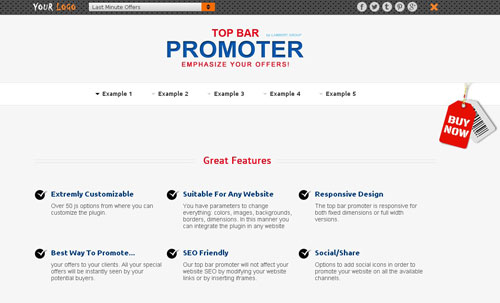 jQuery Top Bar Offers Promoter