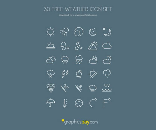 30 Free PSD Weather Icons