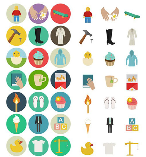 Flat Icon Set (60 Icons, PNG, SVG, EPS, PSD, AI)