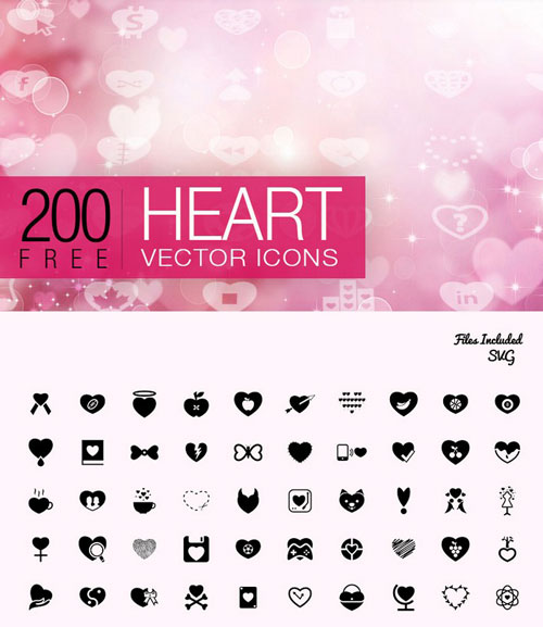 Heart Icons – 200 Free Valentine's Day Icon Pack